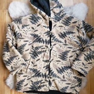 Cold Air Design | Wool Leaf Print Fleece Hoodie